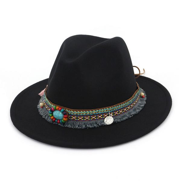 New Spring Summer Women's Jazz Caps Bohemia Style Hats With Wide Birm Women Straw Vintage Hat Floppy Sun Beach Church Cap Gorros