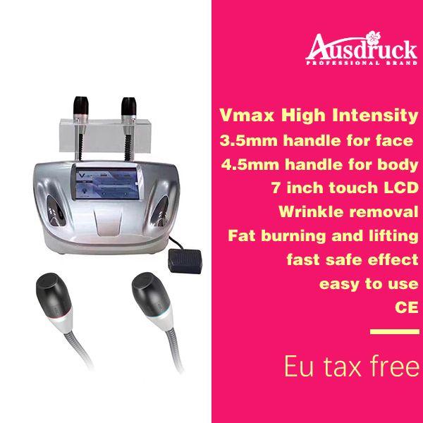 eu tax free 3.0-4.5mm 2 sondas de tratamento SMAS Vmax 3d face lift máquina de ultra-som