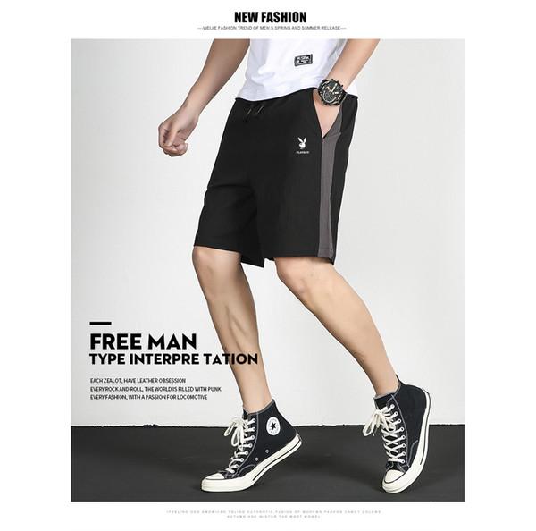 Erkek Marka Şort 2019 Yaz Yeni Giysi Tasarımcısı Moda Düz Renk Spor Pantolon Eğlence Tatil Kırpılmış Pantolon Nefes Erkek Pantolon