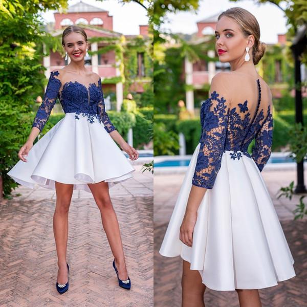 Compre 2019 Vestidos De Fiesta De Encaje Con Ilusión Mangas Largas Con Cuello En V Vestidos De Fiesta Formales Cortos Vestidos De Fiesta Mini Modernos