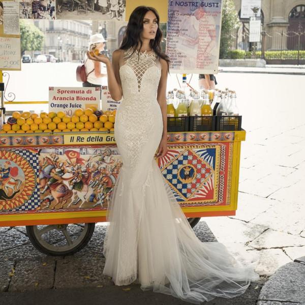 Moda Sereia Rendas Vestidos de Casamento Sheer Jewel Neck Appliqued Vestidos de Noiva Sweep Train Trumpet Tule Plus Size robe de mariée