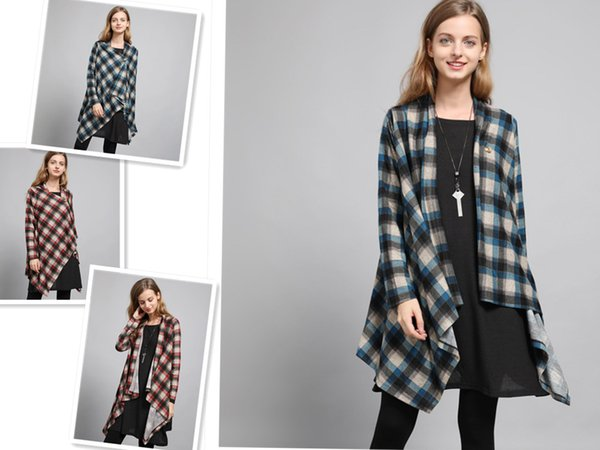 Women Plaid Cardigan Long Sleeve Single Button Loose Style Big Size Asymmetric Free Size Fat Women Wear Spring Coats