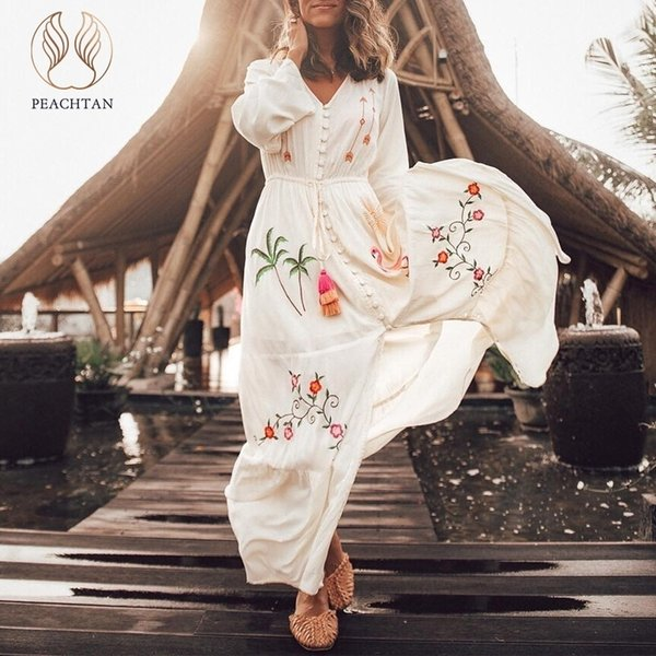 Peachtan Long Sleeve Sarong Caftan Flamingo Embroidery Cover-ups Long Tunic Women's Beach Dress Summer Beachwear Bikinis 2019 Y19060301