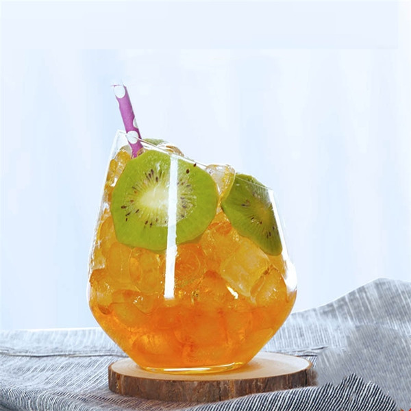 Creative Glass Slant Muse Cups Tiramisu Cups Personality Simple Juice Cup Lead-free Dessert Cold Drink cup wine Glass 4984