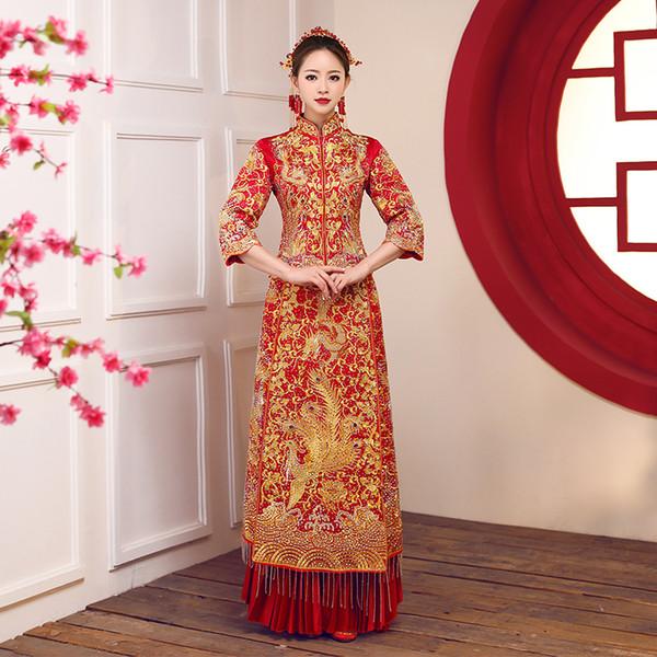 Старинные невесты свадьба Cheongsam тост одежда тонкий классический красный DragonPhoenix плиссированные платье роскошный горный хрусталь Qipao 3XL