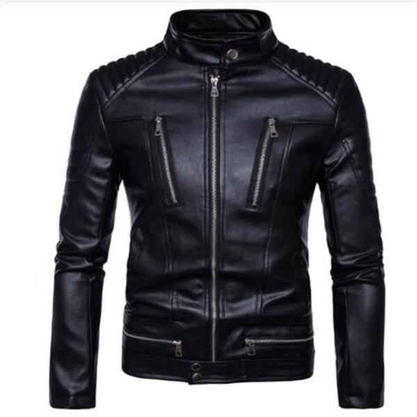 New Motorcycle Jackets Men Genuine Leather Jacket Vintage Retro Racing Zipper Biker Punk Casual Coats Motorcross Windproof Coat
