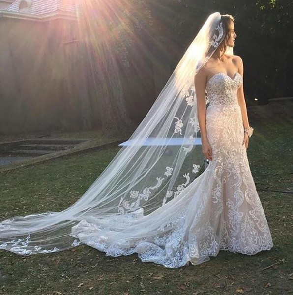 2019 Luxury court Train modest wedding dresses mermaid sweetheart full lace with veil Plus Size bridal gowns customized vestito da sposa