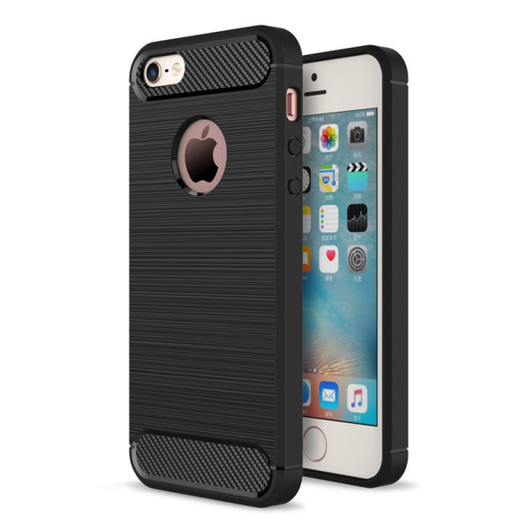 For IPhone 5/5 S/SE Mobile Phone Bag Case Carbon Fibre Brushed TPU Cover Shell Phone Cases for IPhone SE/5s/5 - Hot Selling
