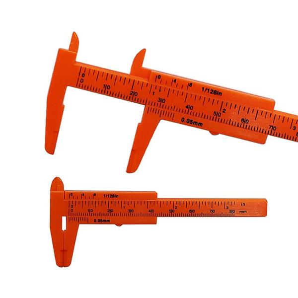 top popular High Quality 1pcs 0-80mm Plastic Double Rule Scale Plastic Vernier Caliper Measuring Student Mini Tool Ruler 2021
