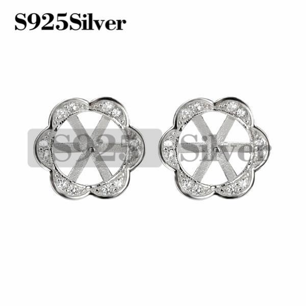 Flower Stud Earring Pearls Mount 925 Sterling Silver DIY Jewelry Blank for Women Girls 5 Pairs