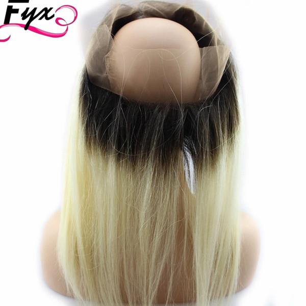613 capelli umani brasiliani colorati 360 chiusura frontale in pizzo trasparente con fasci di capelli biondi