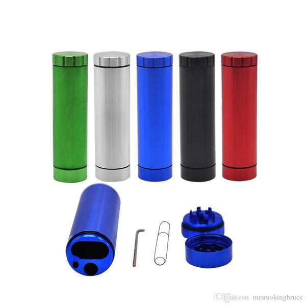 Spedizione gratuita New Pocket Metal Herb Grinder Dugout Grinder Grinder Porta sigarette Custodia in alluminio per sigarette