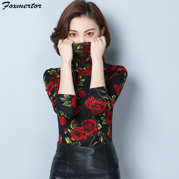 Tee Shirts Woman 2019 Winter plus velvet thickening print Turtleneck T-shirt For Women Long Sleeve T-shirt Casual Tops Plus size
