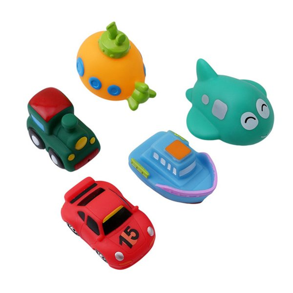 Baby Car Model Bath Toys Soft Rubber Cartoon Simulation Car Airplane Baby Bathing Water Toys For Baby Kids
