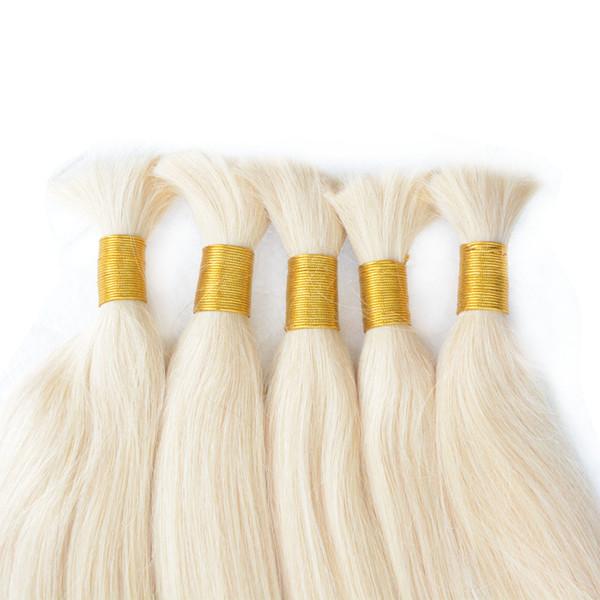Micro braiding Malaysian human hair bulk 3/4/5 bundles body wave raw 613 blonde human hair extensions straight bleach blond bulk hair
