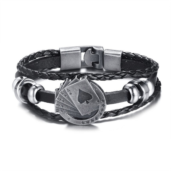Fashion Charm Leather Lucky Vintage Men's Leather Bracelet Playing Cards Raja Vegas Charm Multilayer Braided Women Pulseira Masculina