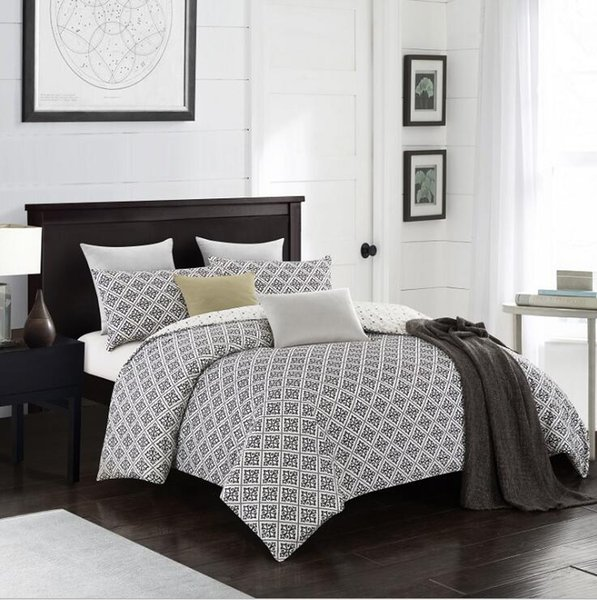 Queen Bed Bedding Set.Fashion Bedding Sets Bed Linen Simple Style Duvet Cover Flat Sheet Bedding Set Winter Full King Single Queen Bed Set 2019 Brown Bedding Sets Full