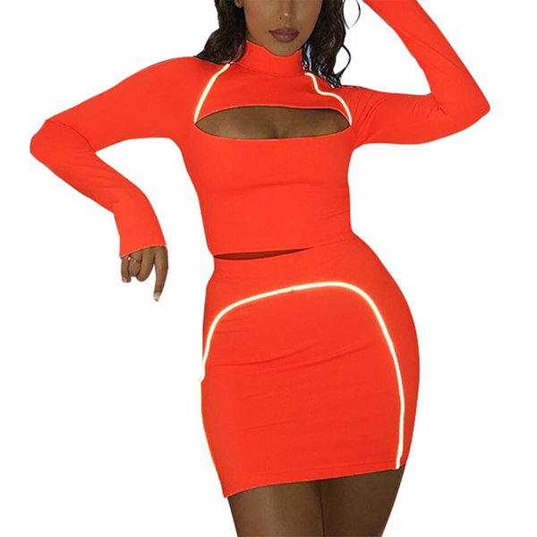 Women Two Piece Hollow Sexy crop tops skirts Clothes Set Reflective Ribbon leisure mini Skirt Long Sleeve Slim pullover T-shirt
