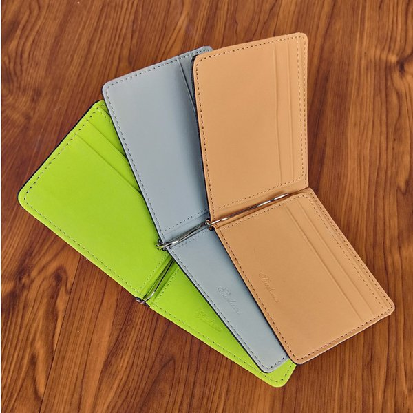 Fashion Men's Leather Credit Card Wallet Slim Money Clip Simple Design New Men Bifold Purse Clamp Green Brown Gray