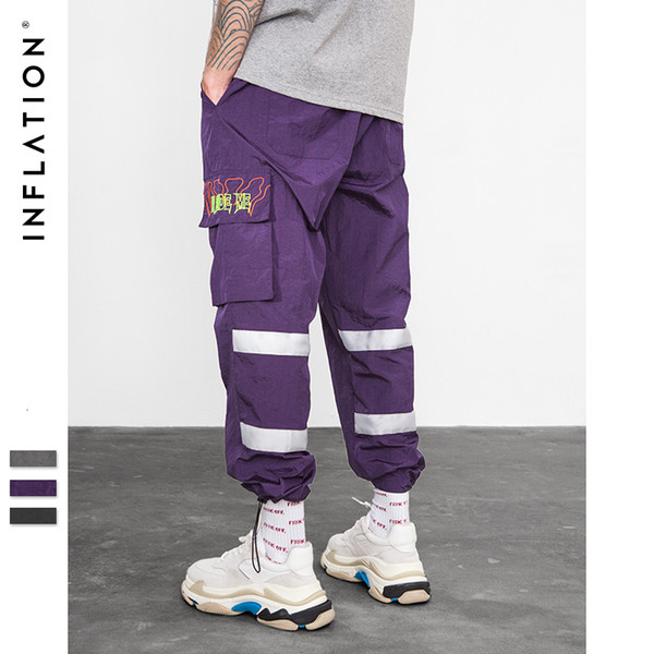 INFLATION Windbreaker Pants Night Sporting Fluorescent Loose Fit Trousers 2019 Streetwear Brand Clothes Street Sweatpants 8857WMX190905