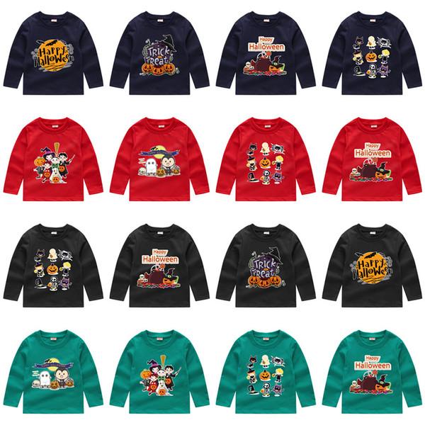Crianças de Natal do dia das bruxas T-shirt Do Bebê de Manga Longa Papai Noel abóbora dos desenhos animados Tees Camisolas das Crianças T-shirts de Algodão Casuais Tops M128
