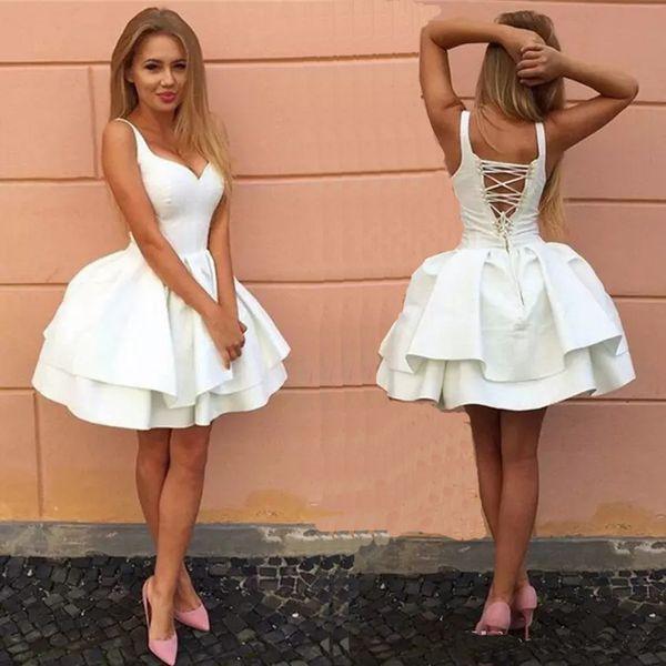 top popular White Homecoming Dress 2020 Sleeveless V Neck Sleeveless Junior Cross Back Short A-line Freshman Graduation Dress mezuniyet elbise 2020