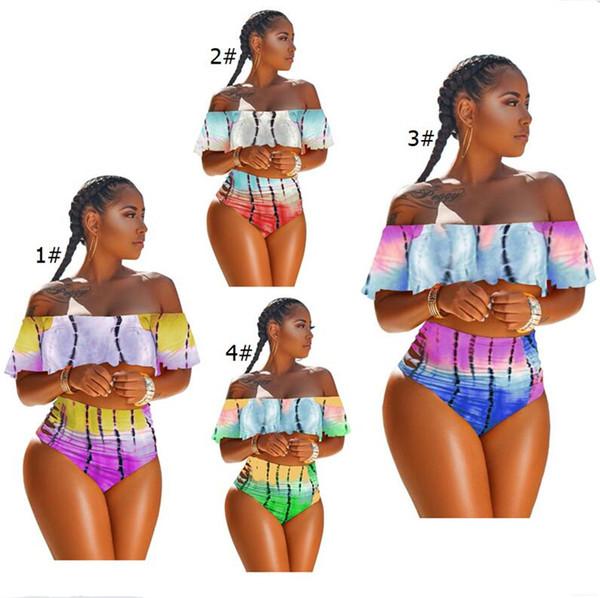 Women Flouncy Swimsuit Tie-dyed Strapless Bikini Top + Hipster 2 Piece Swimwear Gradient Off Shoulder Falbala Ruffle Swimsuits 2019 A353