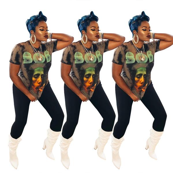 Frauen Sommer BOB Brief drucken T-Shirt locker entspannt Designer Bekleidung Rundhalsausschnitt Kurzarm Casual Apparel