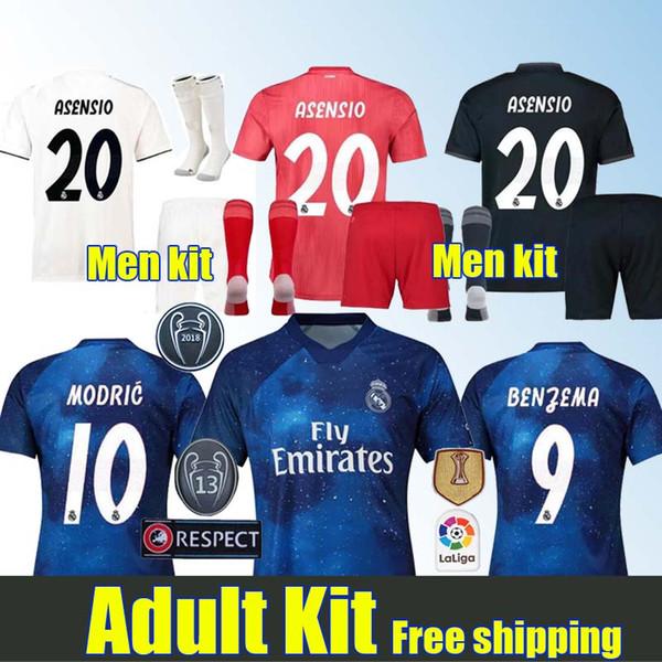 timeless design 340ac 6ed05 2019 18 19 Real Madrid Adult Kit Soccer Jerseys MARCELO 2018 2019 Junior  Bale Isco Kroos Asensio Ronaldo BENZEMA 3rd Red Men Kit Football Uniform  From ...