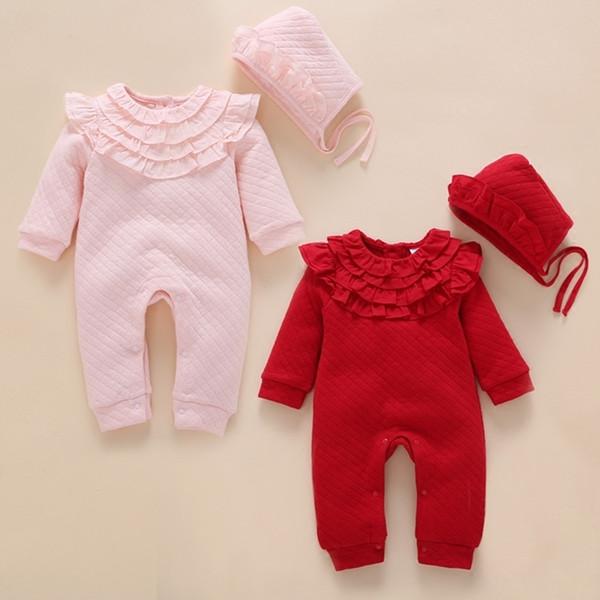 d0fe86d87 Recién nacido Otoño Invierno Cordón Grueso Mameluco Bebé Niñas Rosa Aire Algodón  Mamelucos Calientes + niños