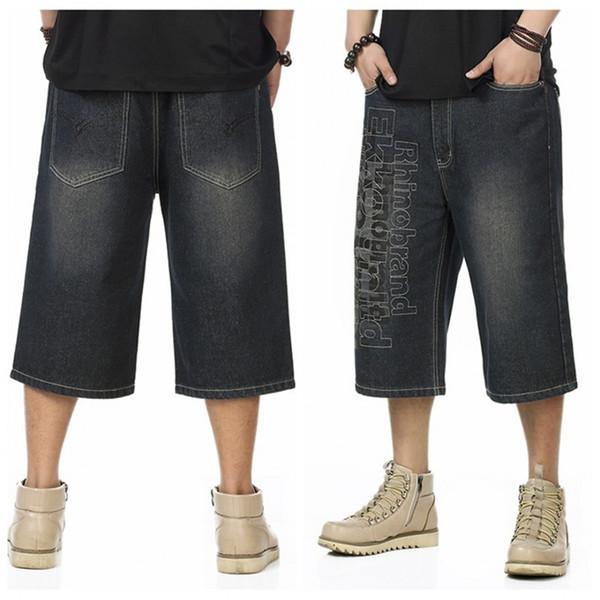 Pantalón largo de pantalón de hombre, más el tamaño de los pantalones vaqueros cortos de los hombres, pantalones cortos casuales, multibolsillo, pantalones cortos rectos para hombre hiphop