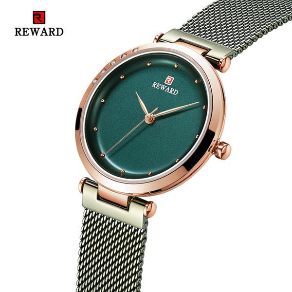 REWARD 2019 Nueva Moda Ultra-delgada Fina MeshSteel Cinturón Reloj Impermeable Señoras Reloj Mujer Reloj de Cuarzo