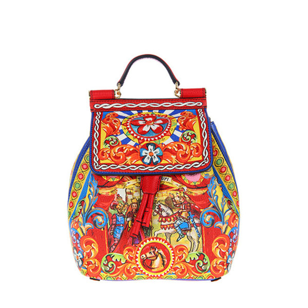 Luxury High-end Original Design! Genuine Leather Roman Classical Printed Backpacks for Women Famosu Italy Brand Shoulder Bags