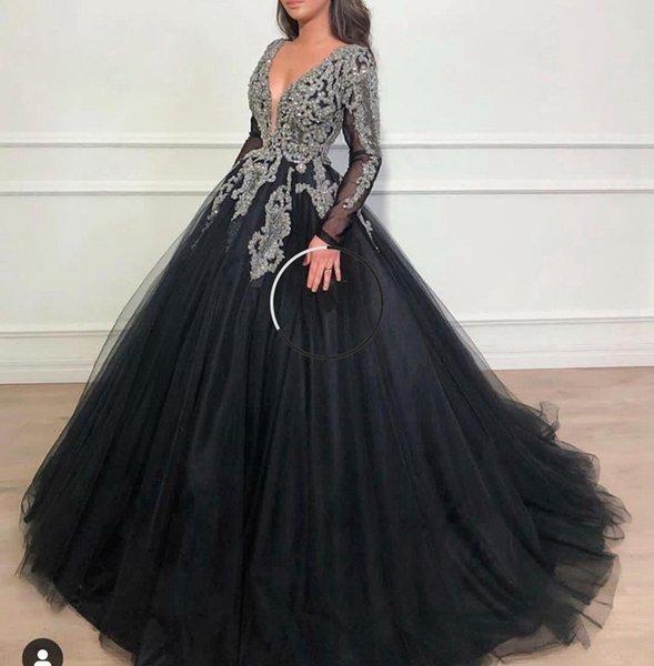 Nova Chegada Sexy V Neck Preto Muçulmano Vestidos de Baile 2020 de Manga Comprida Mão Beading Lantejoula Vestido de Baile de Cristal Tulle Vestidos de Noite Dubai Kaftan