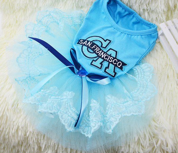 Pet Dog Clothes Dress Sweety Princess Dress Teddy Puppy Wedding Dresses Fot Dog Small Medium Dogs Pet Accessories CA Text Pink Blue Clothing