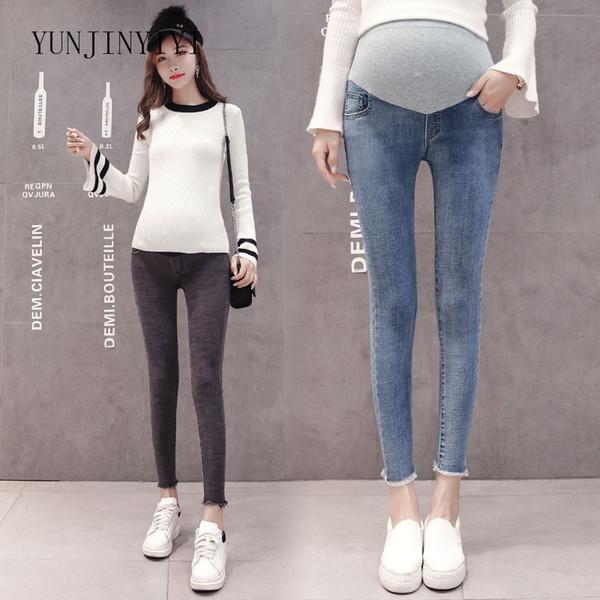nuevo estilo 837b8 43a19 Compre Ropa Embarazada Estirar Lavado Denim Jeans De Maternidad Moda De  Verano Lápiz Pantalones Ropa Para Mujeres Embarazadas Pantalones De  Embarazo A ...