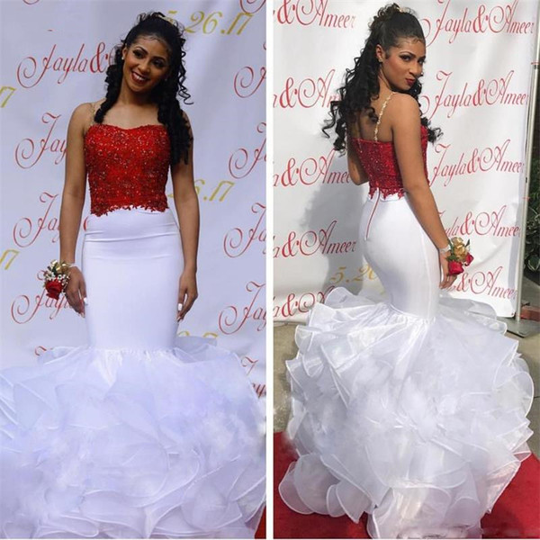 2019 Black Girls White And Red Mermaid Prom Dresses Spaghetti Straps Arabic Long Evening Gowns Tiered Skirt African Graduation Party Dress
