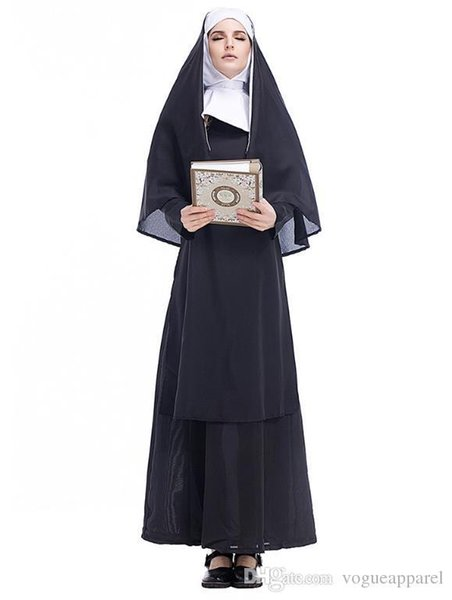 Halloween Costume Clothes for adults Christian Nun Cosplay Black Dress Cape Party Vintage Clothing Free Shipping