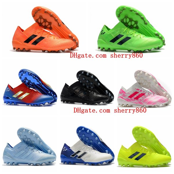 201 nuevos zapatos de fútbol para hombre Nemeziz Messi 18.1 AG zapatos de fútbol Nemeziz 18 chaussures de botas de fútbol chuteiras de futebol naranja original
