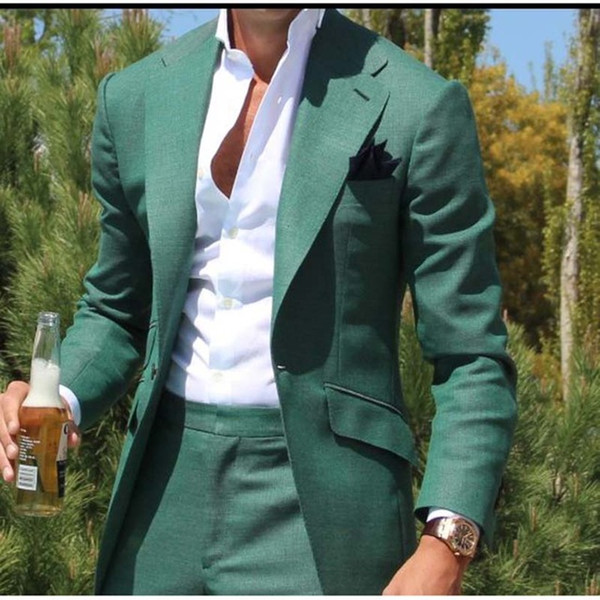 Tailor Made Green Men Suit Slim Fit Groom Prom Dress Blazer 2 Piece Tuxedo Casual Beach Summer Style Male Coat Jacket+Pant Terno