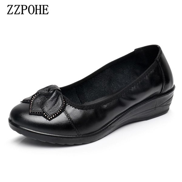Designer Dress Shoes ZZPOHE Spring mother women non-slip Soft bottom round single flower casual Female black Plus size 41