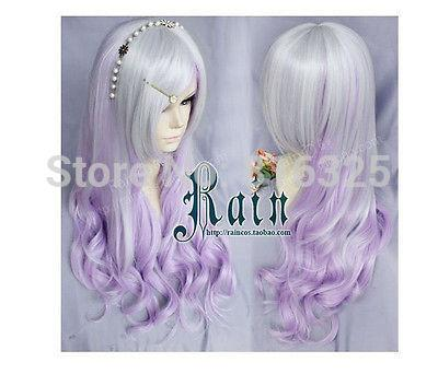 shun DM690068>>>>Silver gradient purple fantasy purple wig LOLITA Harajuku Wig long