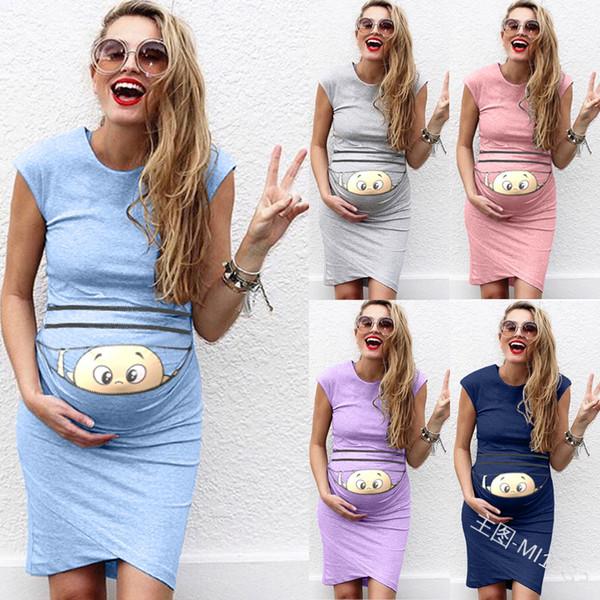 Maternity Clothing Casual Sexy Dress Pregnant Nursing Maternity Dress Solid Print Skirt Pregnant Dress Plus Size