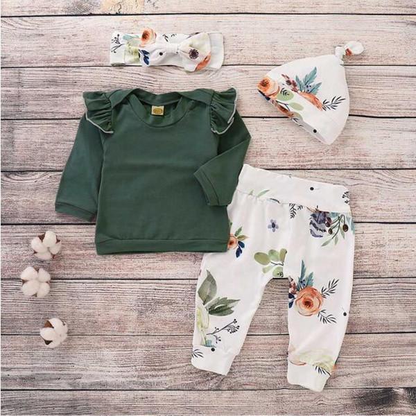 Ropa para bebés niñas niños 4 UNIDS Niños Pequeños Bebés estampado floral pantalones superiores gorra diadema volantes trajes conjunto roupa infantil