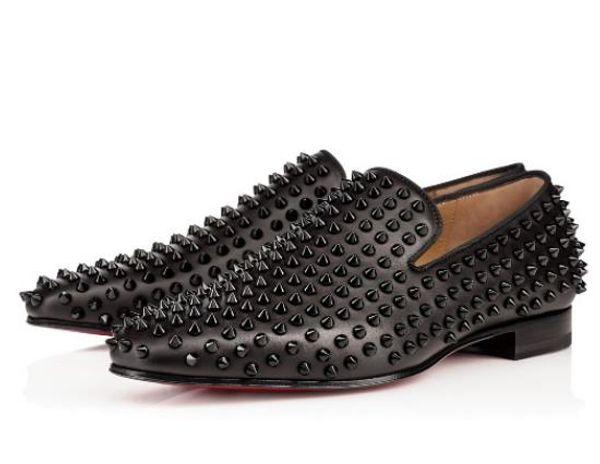 Christian Louboutin CL Mode Noir Glitter Spikes Clouté Rouge Bas Mocassins Chaussures Hommes Appartements Fête De Mariage Gentlemen Robe Oxford Chaussures