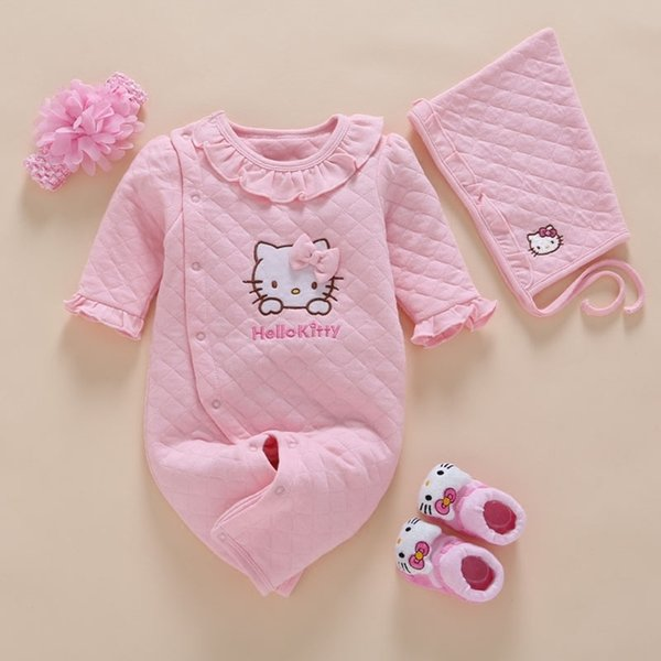 Newborn Baby Girl Clothes Winter Romper Cotton Infant Baby Jumpsuit Photography 4pcs/set Baby Headband+hat+sock 0 3 6 9 12 Month Y19061201