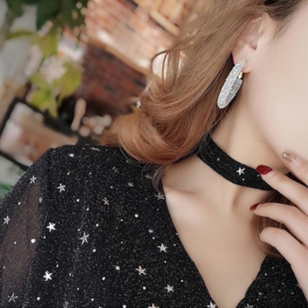 Simple femmes Vintage Exagéré ronde cristal Boucles d'oreilles