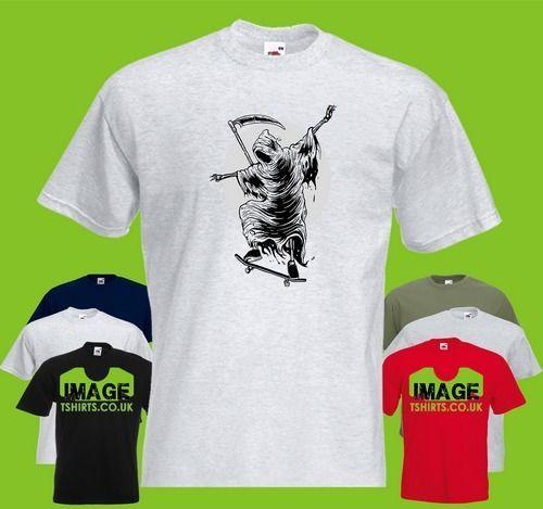 Reaper Skater Mens T-SHIRT Grim Scythe Skate Skateboard Skateboarding manches courtes Plus Size t-shirt