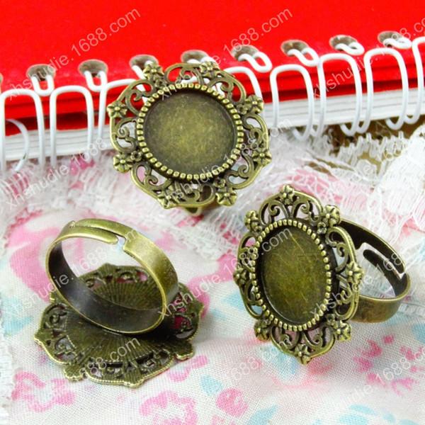 50pcs Fit 14MM antique bronze round ring base bracelet adjustable blank finger ring tray alloy metal stamping jewelry settting vintage