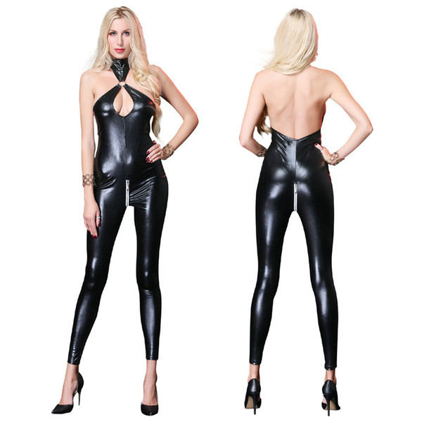 Sexy Black Faux Leather Catsuit Costumes For Women Erotic Cut Out Bust Open Crotch Bodysuit Lingerie Fetish Wear Sexy Jumpsuit